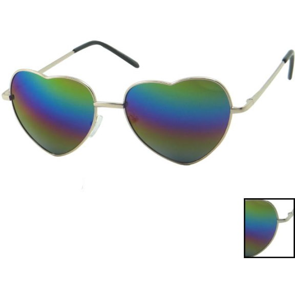 HEART SHAPE SUNGLASSES, WITH RAINBOW REVO LENSES